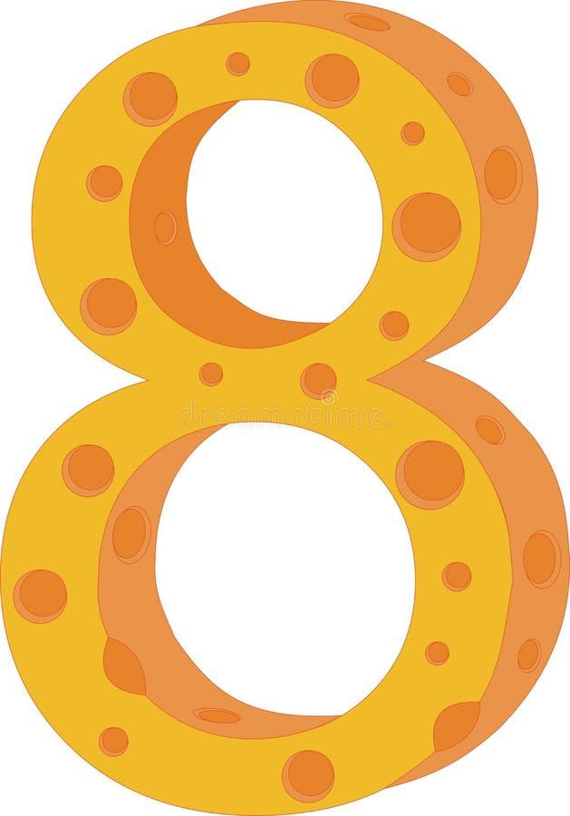 Numeral oito do queijo do vetor ilustração stock