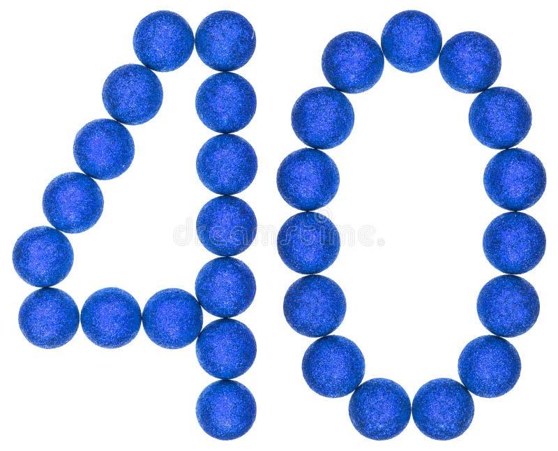 Numeral 40, quarenta, das bolas decorativas, isoladas na parte traseira do branco imagem de stock royalty free