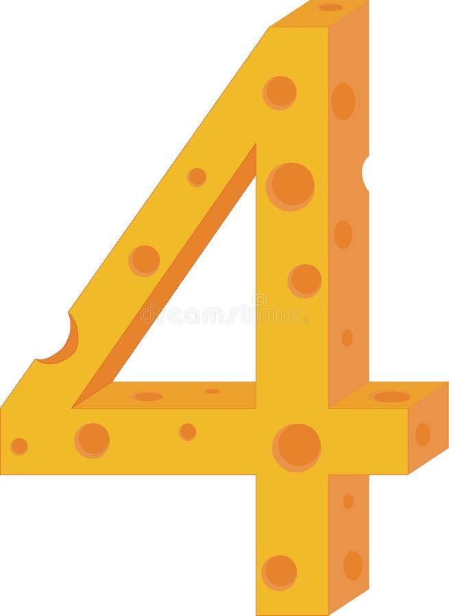 Numeral quatro do queijo do vetor ilustração royalty free