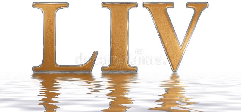 Numeral romano LIV, quattuor e quinquaginta, 54, cinquenta e quatro, referência ilustração royalty free