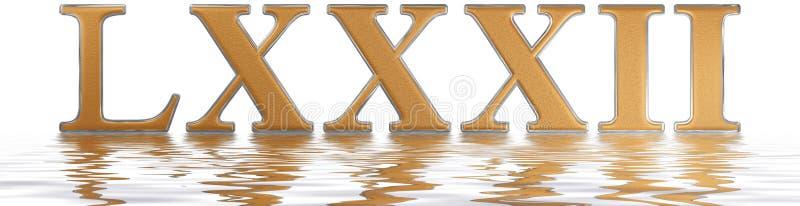 Numeral romano LXXXII, duo e octoginta, 82, oitenta e dois, reflecte ilustração stock