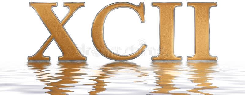 Numeral romano XCII, duo e nonaginta, 92, noventa dois, refletida ilustração royalty free