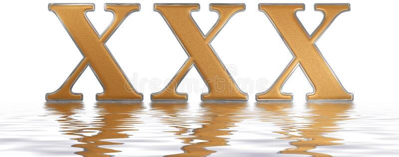Numeral romano XXX, triginta, 30, trinta, refletidos na água ilustração stock