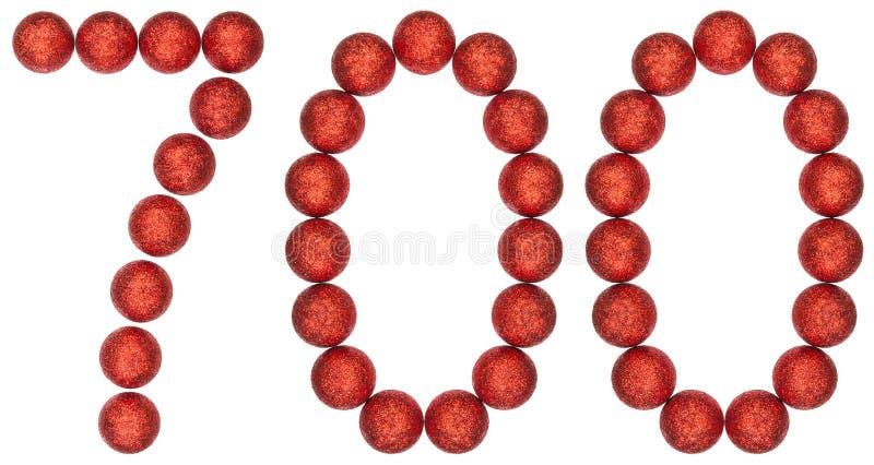 Numeral 700, sete cem, das bolas decorativas, isoladas em w foto de stock royalty free