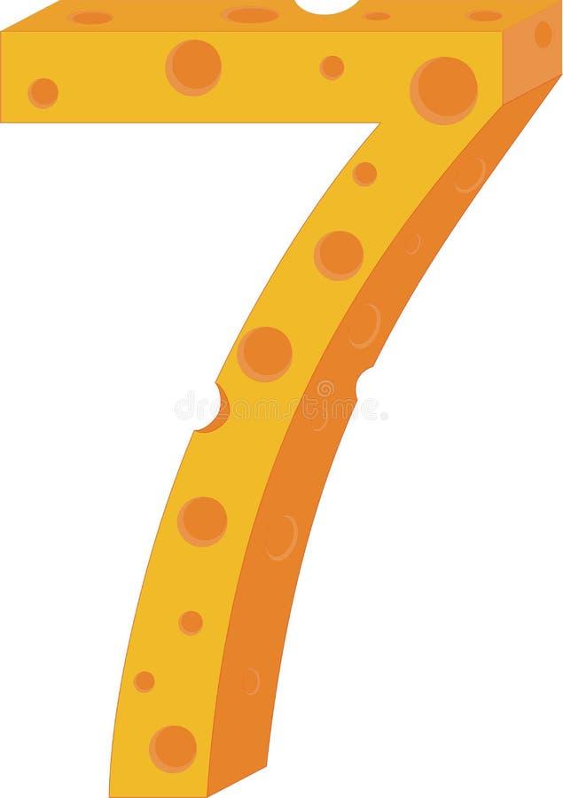 Numeral sete do queijo do vetor ilustração royalty free