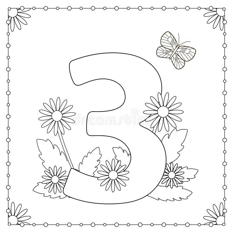Numeral três com flores, folhas e borboleta Página da coloração ilustração stock