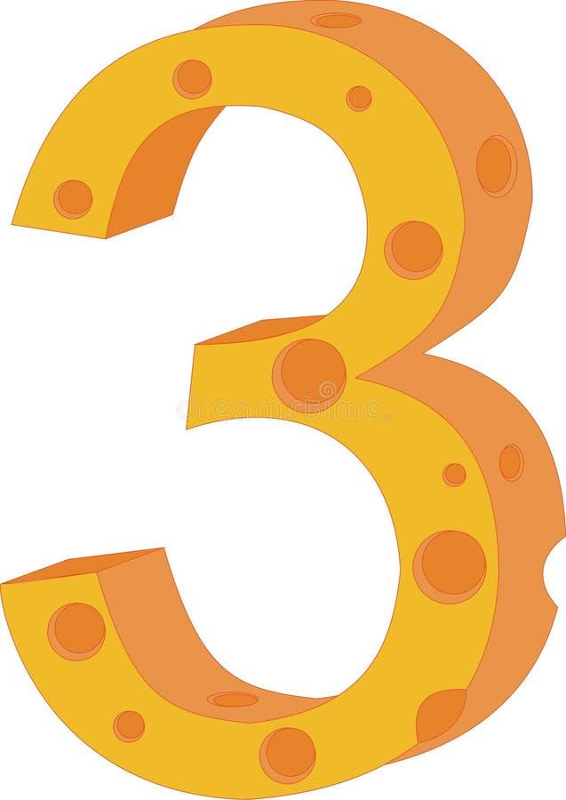 Numeral três do queijo do vetor ilustração do vetor
