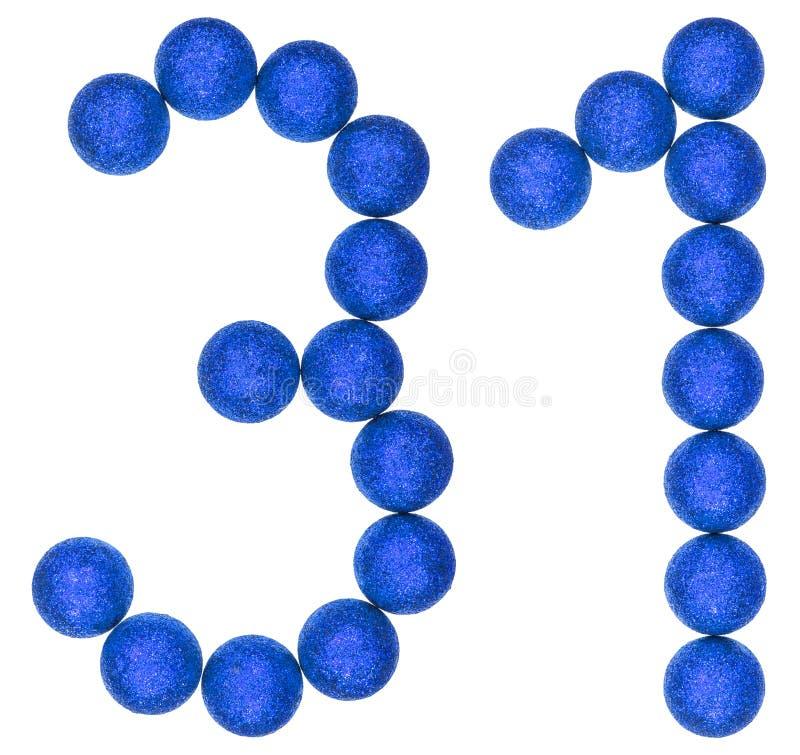 Numeral 31, trinta uns, das bolas decorativas, isoladas no branco fotografia de stock royalty free