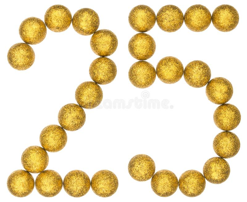 Numeral 25, vinte cinco, das bolas decorativas, isoladas no whit fotografia de stock