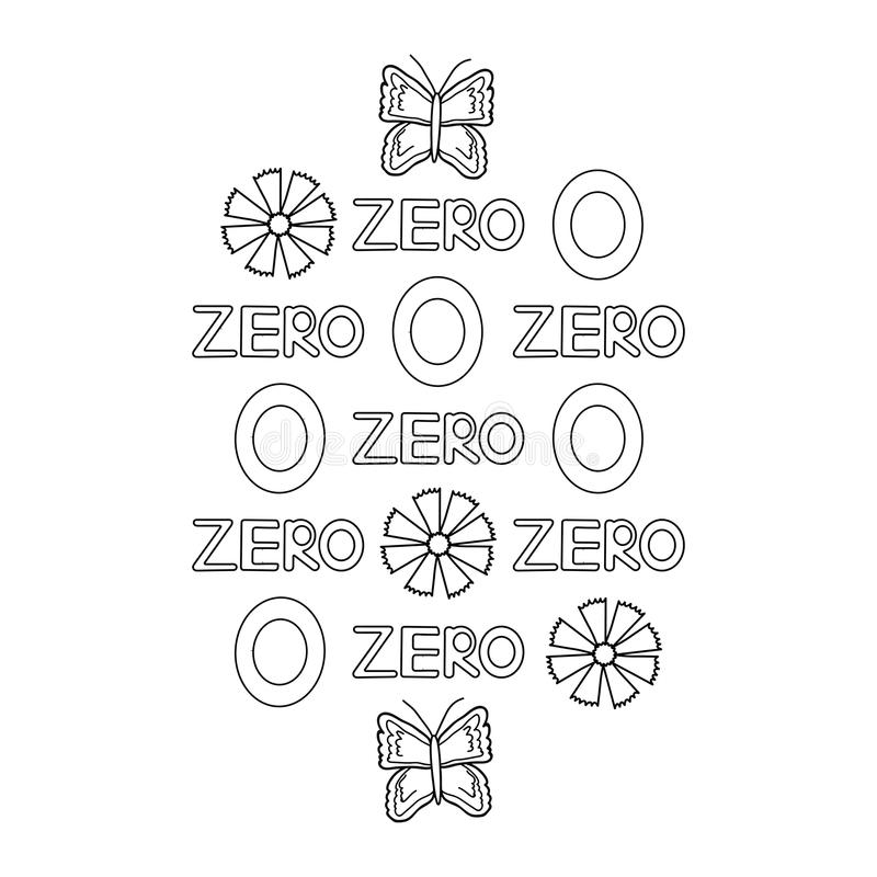 Download Numeral And Word Zero Butterfly Flowers Coloring Page Stock Illustration