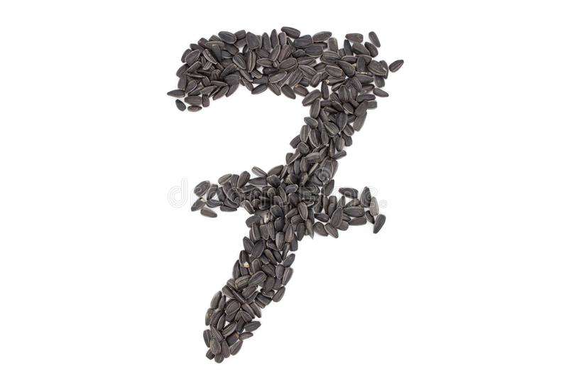 Numerals from black sunflower seeds stock photo
