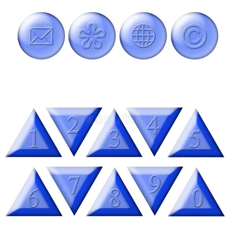 Numerals & The button icon. Illustrations The button icon & numerals royalty free illustration