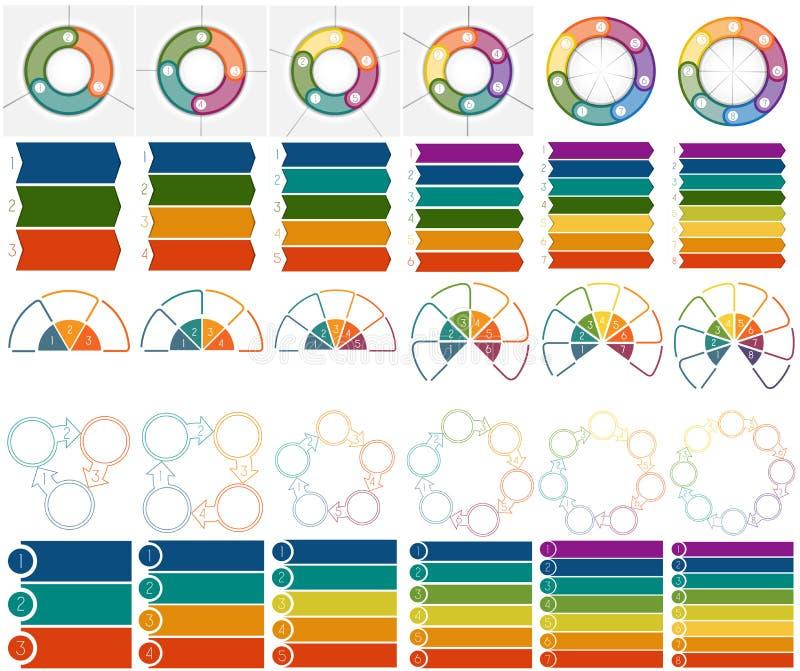 30 numeraron las plantillas Infographics 3, 4, 5, 6, 7, 8, posiciones stock de ilustración