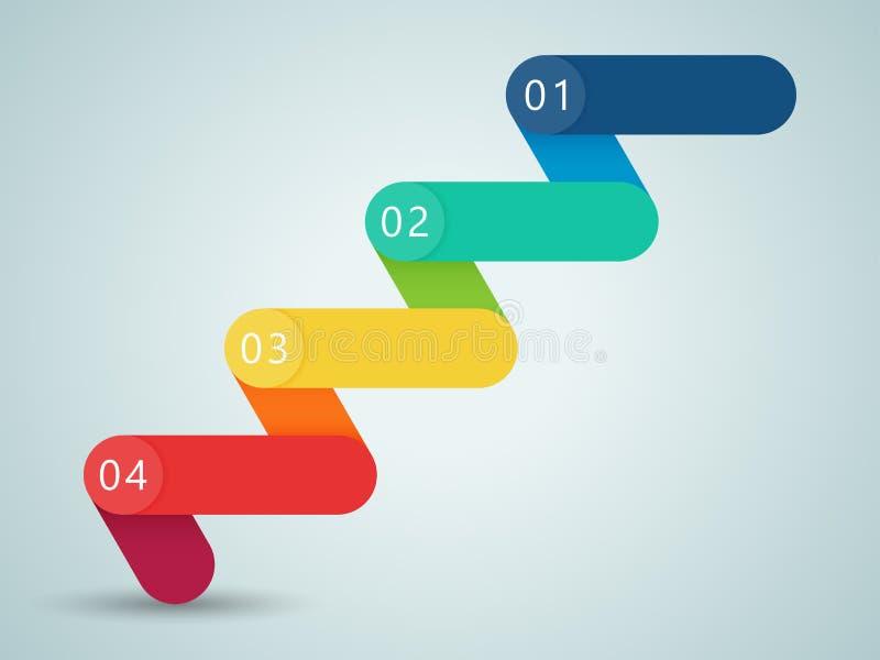 Numere as etapas 3d Infographic 1 a 4 B ilustração royalty free