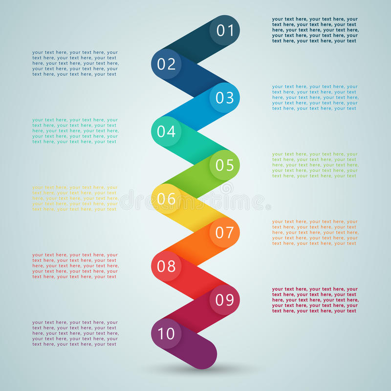 Numere as etapas 3d Infographic 1 a 10 D ilustração do vetor