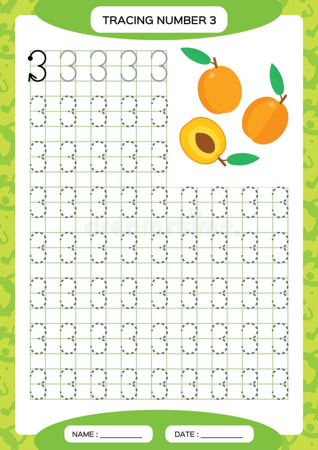 Numere cadeiras de praia 3 Folha três de seguimento Fruto alaranjado do pêssego Folha pré-escolar, habilidades de motor praticand ilustração stock
