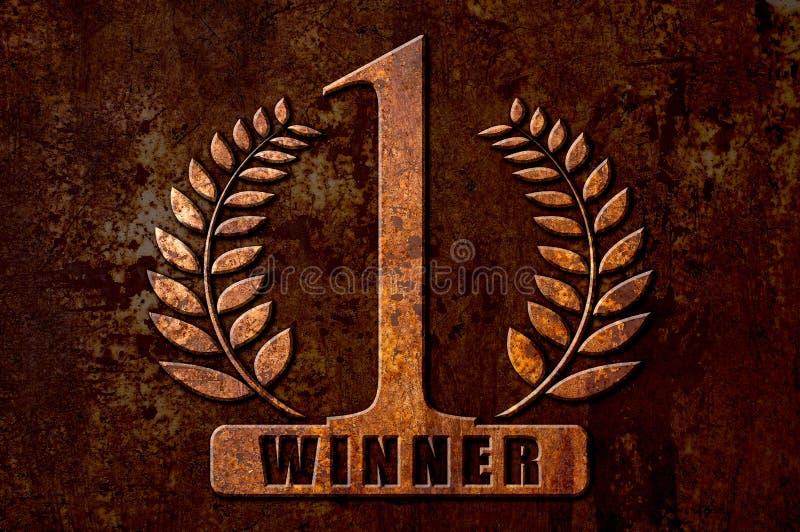 Numere 1 conceito do vencedor no fundo da oxidação do metal imagem de stock