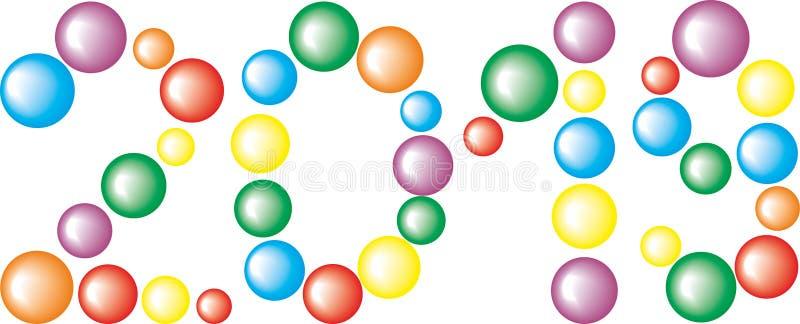 Numere 2019 das bolas coloridas isoladas no fundo branco ilustração do vetor