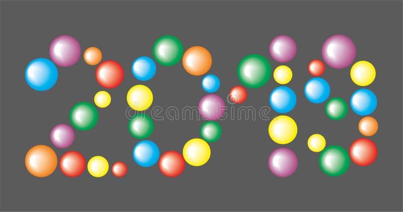 Numere 2019 das bolas coloridas no fundo preto ilustração stock
