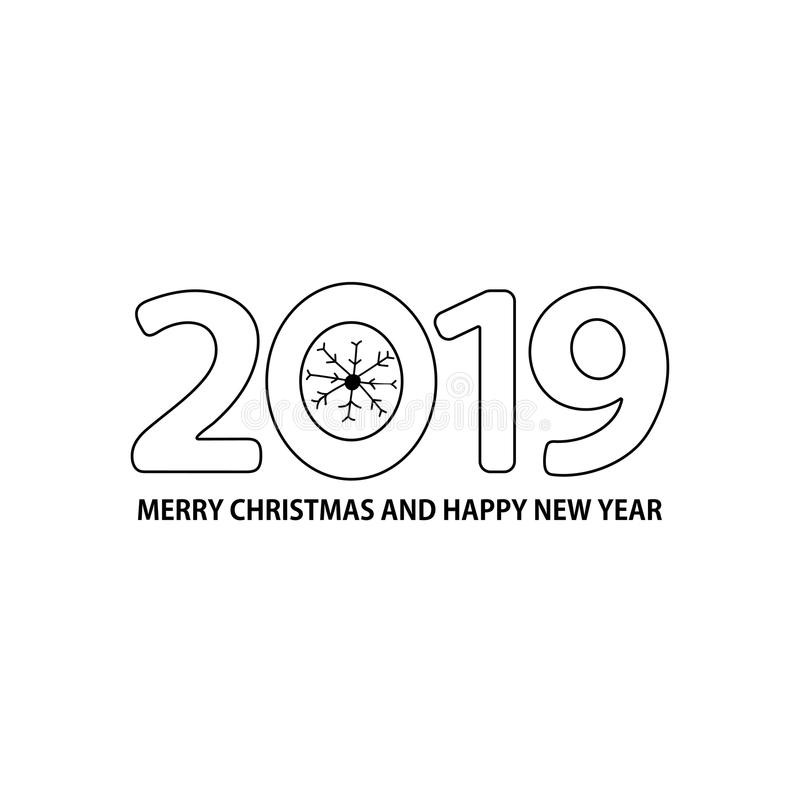 Numere 2019, el copo de nieve y mande un SMS a la Feliz Navidad y a nuevo YE feliz libre illustration