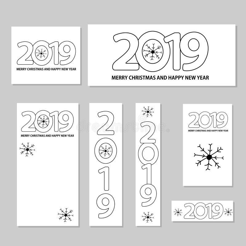 Numere 2019, flocos de neve e Feliz Natal do texto e Y novo feliz ilustração stock