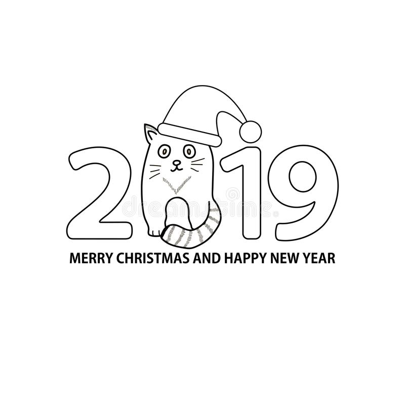 Numere 2019, gato no Feliz Natal do chapéu e do texto e em N feliz ilustração royalty free