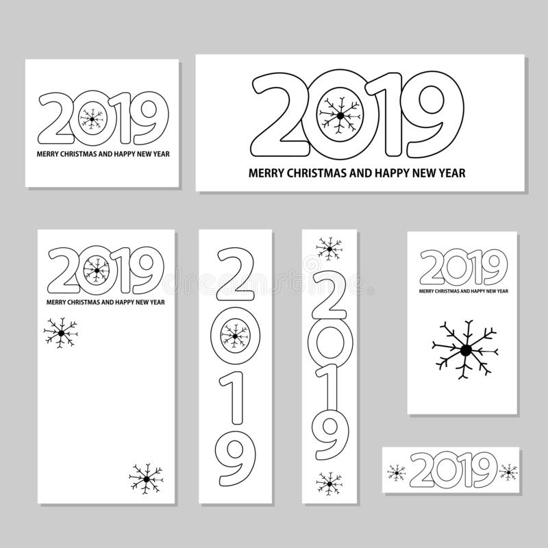 Numere 2019, los copos de nieve y mande un SMS a la Feliz Navidad y a nueva Y feliz stock de ilustración