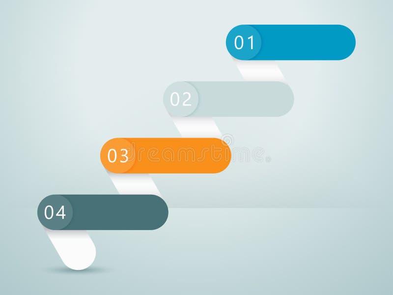 Numere los pasos 3d Infographic 1 a 4 C ilustración del vector