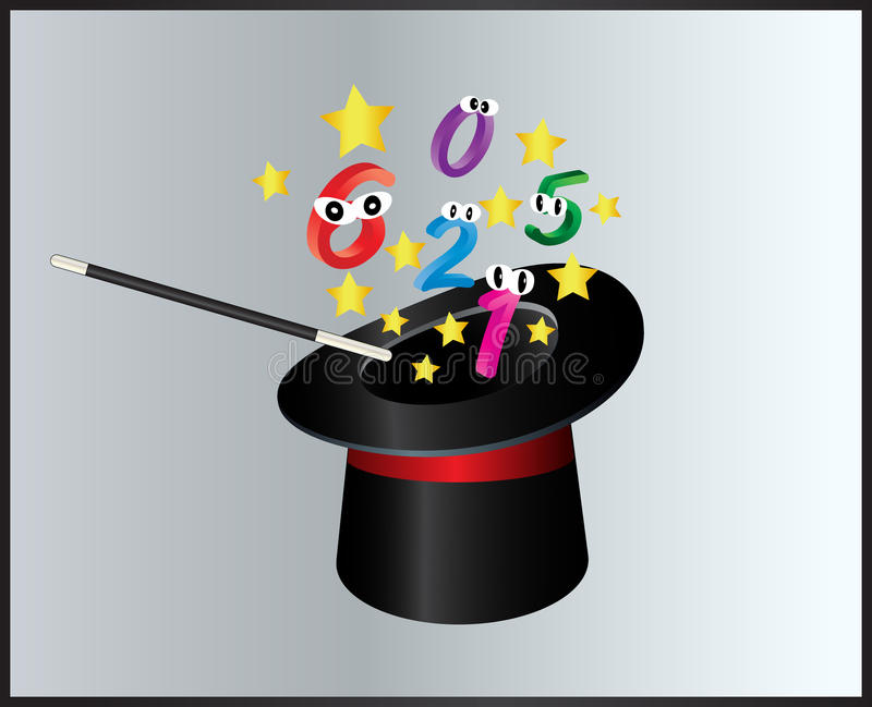 Numere o projeto mágico do ícone do símbolo do chapéu e da varinha Illustr bonito ilustração do vetor