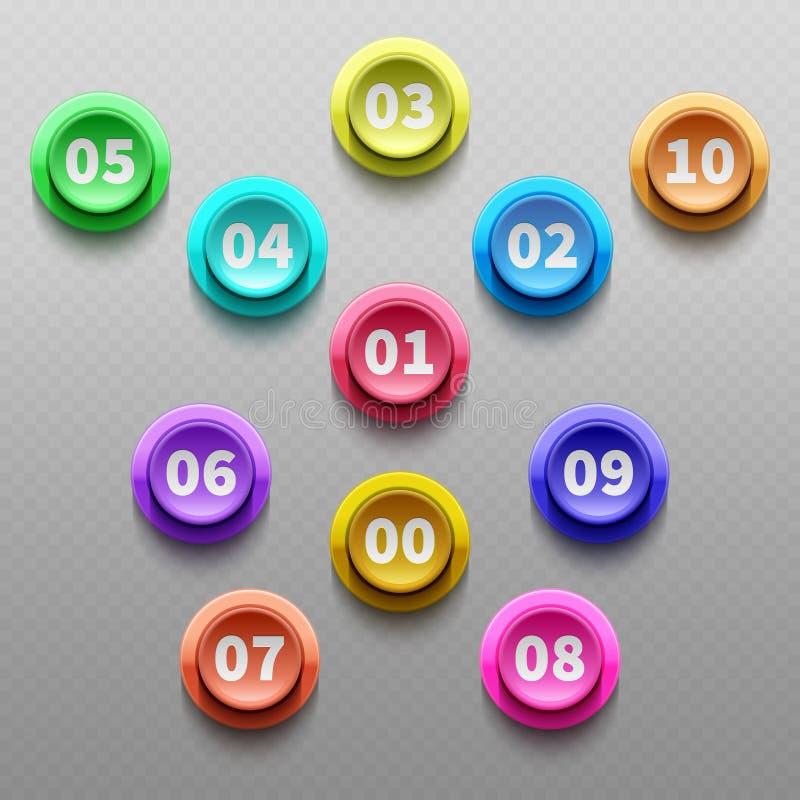 Numere os botões, 3d que aponta o grupo do vetor das balas ilustração stock