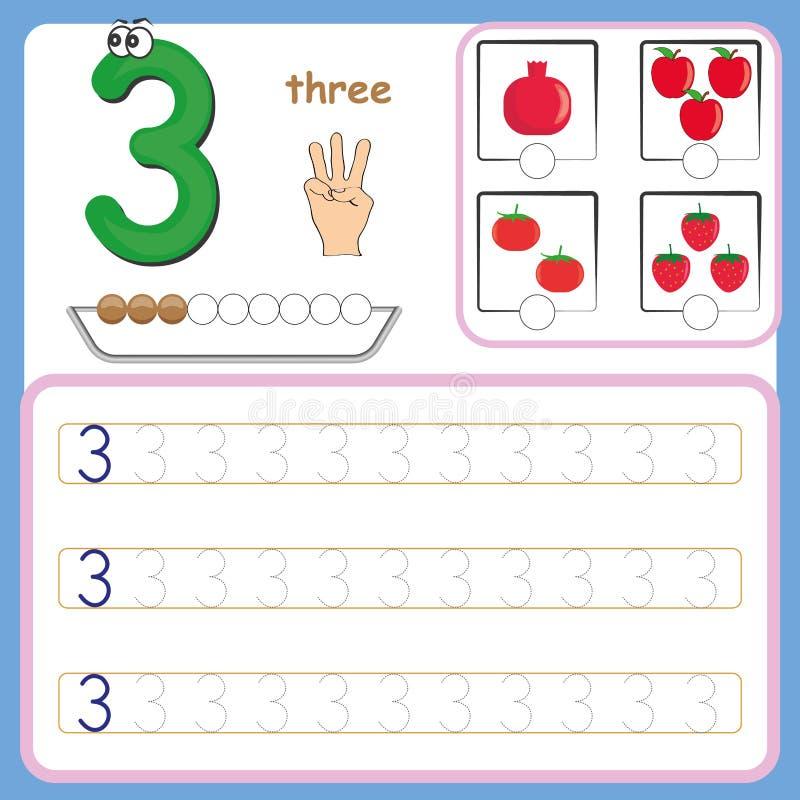 Numere os cartões, contando e escrevendo os números, aprendendo números, os números que seguem a folha para o pré-escolar ilustração stock