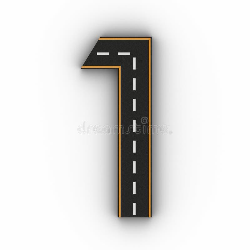 Numere os símbolos um das figuras sob a forma de uma estrada com linha branca e amarela rendição das marcações 3d ilustração stock