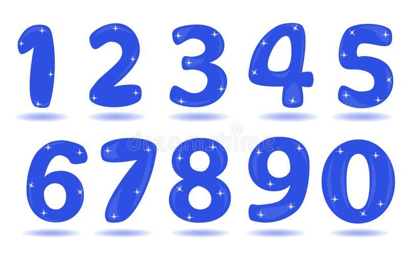 Numere a partir de la 0 a 9 aislados en el fondo blanco ilustración del vector