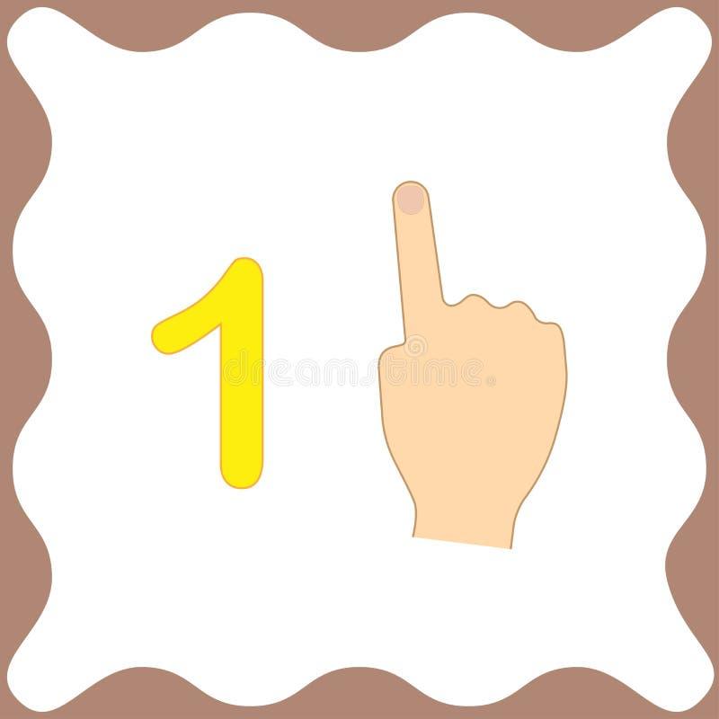 Numere 1 um, cartão educacional, aprendendo a contagem com dedos ilustração do vetor