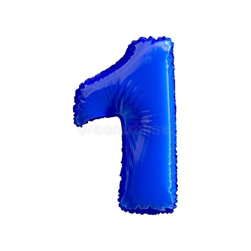 Numere 1 um de balões azuis em um fundo branco ilustração stock