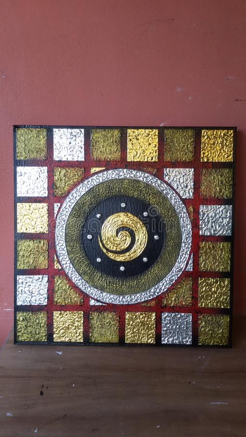 Numere uno en tailandés con el cuadrado de la plata del oro imagen de archivo libre de regalías