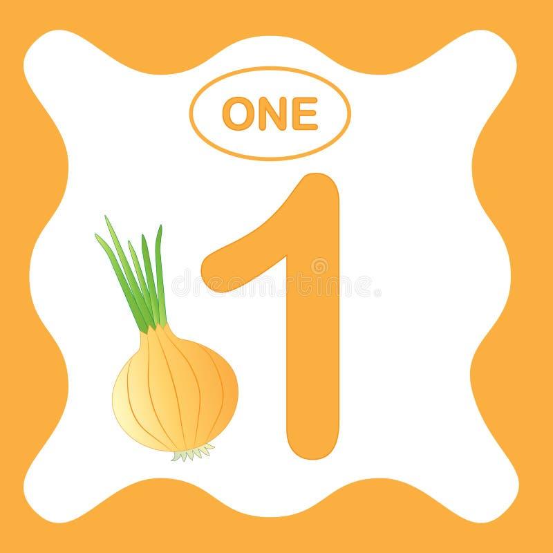 Numere 1 uno, tarjeta educativa, aprendiendo la cuenta ilustración del vector