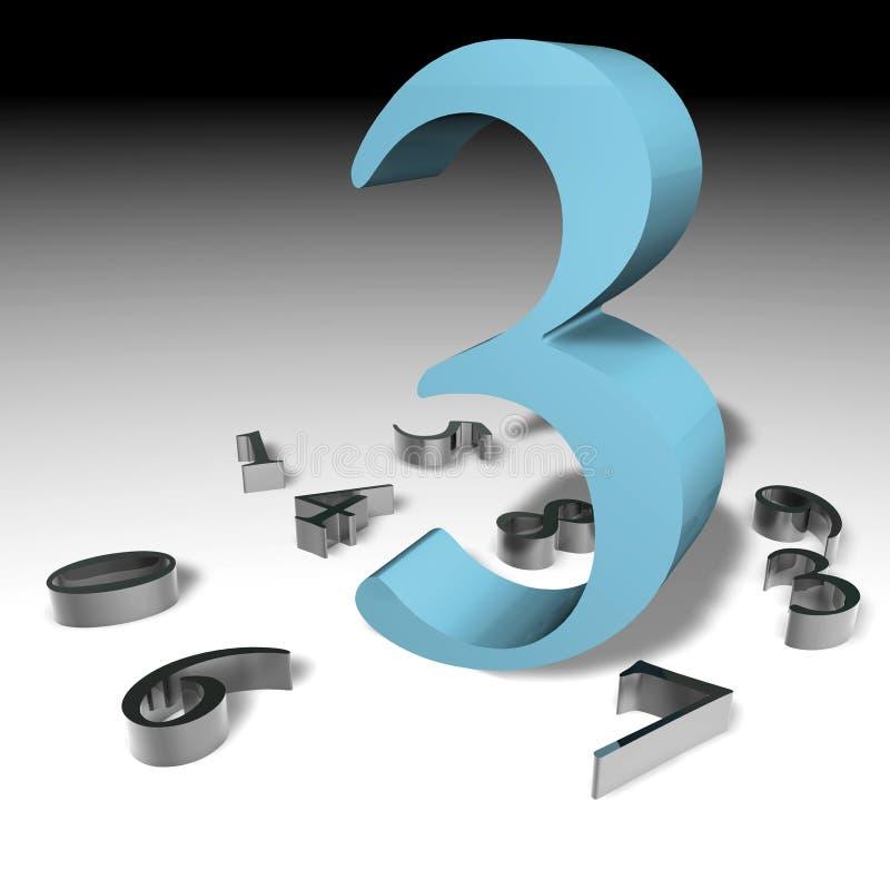 Numeri 3 3D illustrazione vettoriale