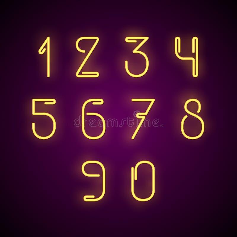 Numeri al neon Illustrazione di vettore royalty illustrazione gratis