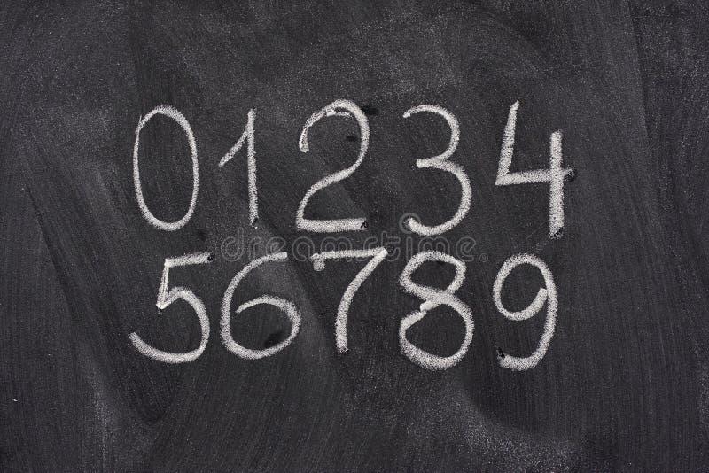 Numeri arabi su una lavagna fotografie stock libere da diritti