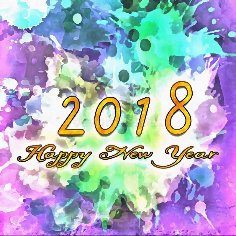 Numeri astratti dell'acquerello 2018 fotografia stock