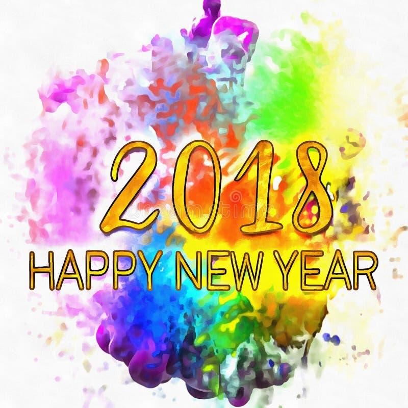 Numeri astratti dell'acquerello 2018 fotografie stock