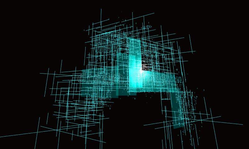 Numeri binari consistenti di una progettazione grafica di palazzo multipiano illustrazione di stock