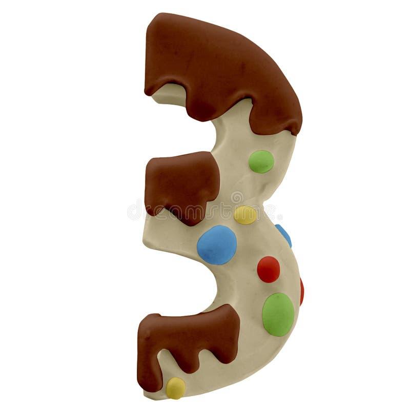 3 numeri Cake Font Fabbricato a mano con plastica immagine stock libera da diritti