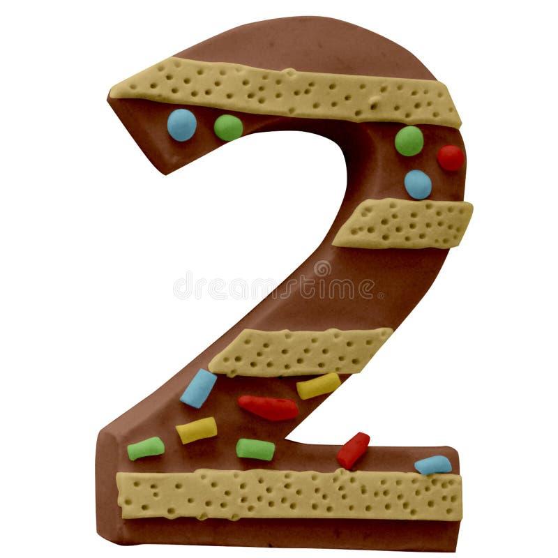 2 numeri Cake Font Fabbricato a mano con plastica fotografia stock libera da diritti
