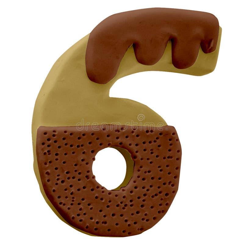 6 numeri Cake Font Fabbricato a mano con plastica immagine stock libera da diritti