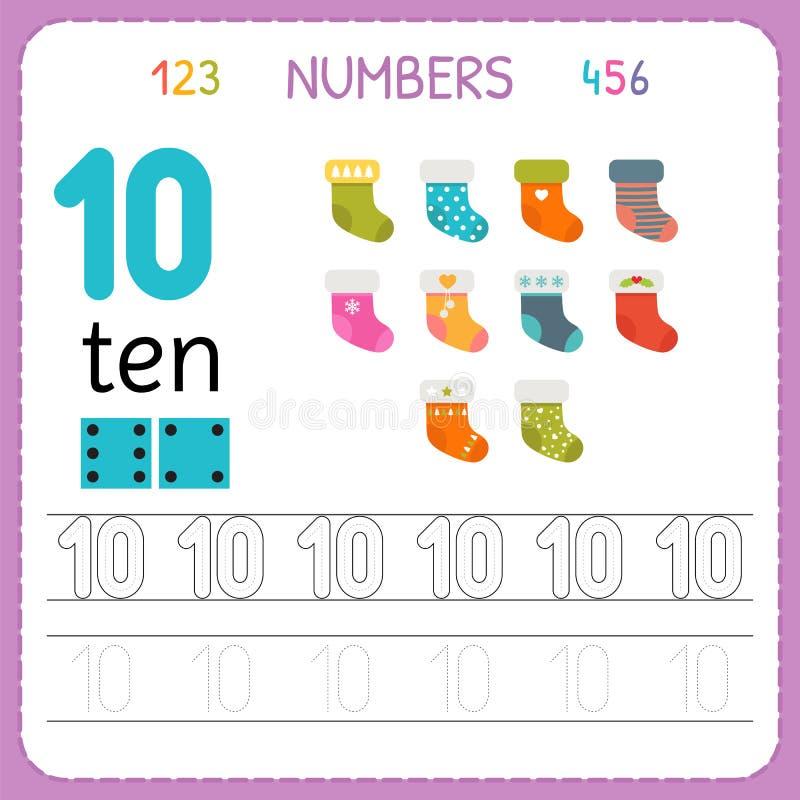 Numeri che rintracciano foglio di lavoro per la scuola materna e l'asilo Scrittura numero dieci Esercizi per i bambini Giochi di  illustrazione vettoriale