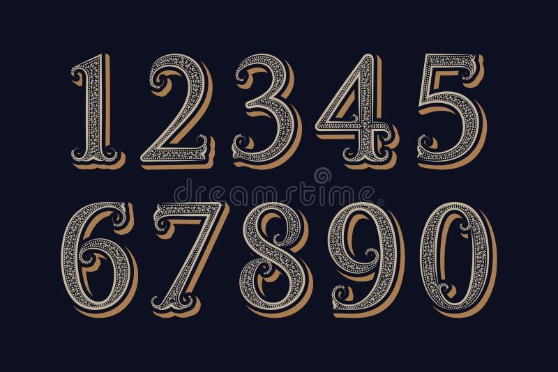 Numeri d'annata reali nello stile classico vittoriano illustrazione di stock