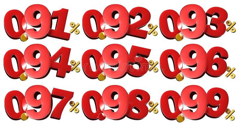 Numeri 3D di percentuale Con il percorso di ritaglio illustrazione di stock
