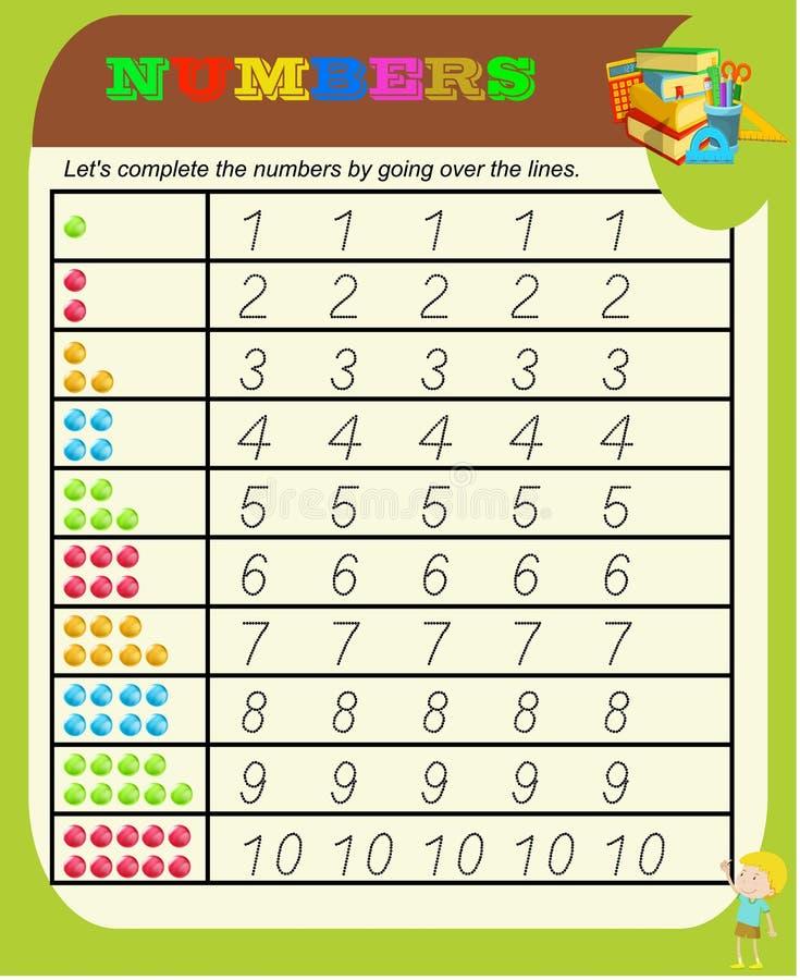 Numeri da 0 a 9, strato di pratica del tracciato della scrittura, scrivente addestramento per i bambini, attività prescolare dei  illustrazione vettoriale